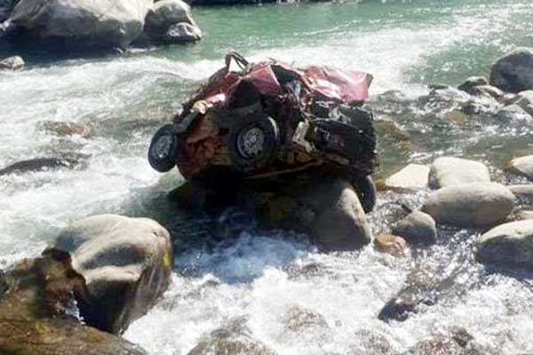 Swift car falls into the river